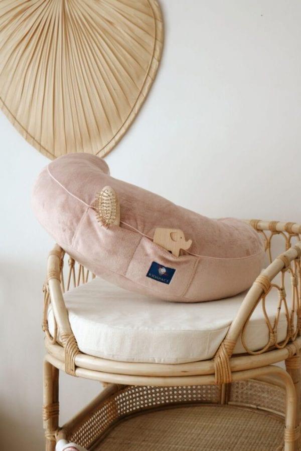 poduszka do karmienia pudrowy roz kieszonki