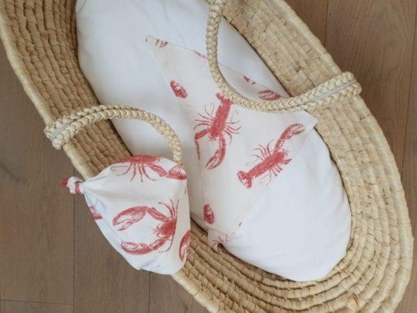 chusteczka z daszkiem trojkatna chusteczka pod szyje lobster strawberry pink