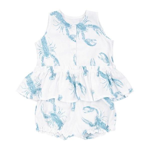 komplet bluzka bloomersy lobster blue