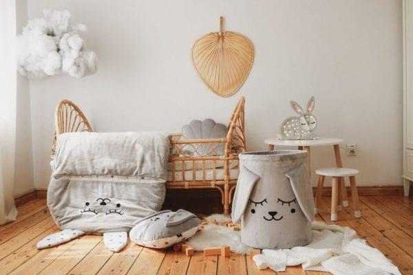 kosz poduszka spiworek szary zajac