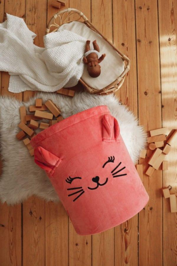 kosz truskawkowy kotek na podlodze