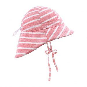 kapelusz z przedluzonym tylem lniany summer stripes koralowe