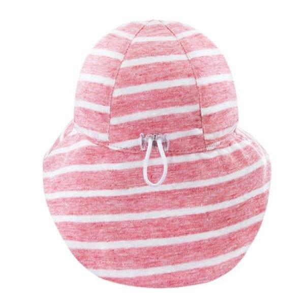 kapelusz z przedluzonym tylem lniany summer stripes koralowy fokus na tyl