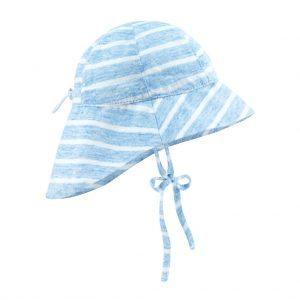 kapelusz z przedluzonym tylem lniany summer stripes niebieski