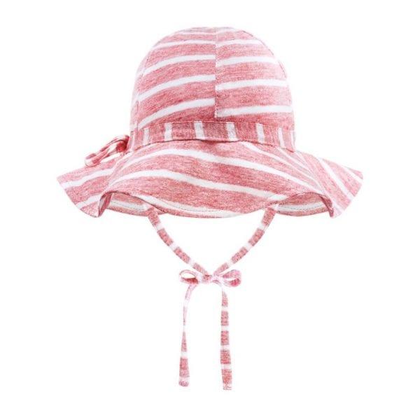 kapelusz z rondem lniany summer stripes koralowy