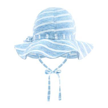 kapelusz z rondem lniany summer stripes niebieski