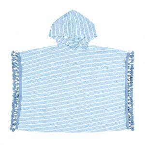 Ponczo plażowe z kapturem lniane Summer Stripes niebieskie