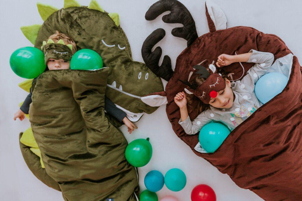Śpiworek dziecięcy do spania 3-6 lat - SLEEPOVER Zielony Dinozaur - Medium