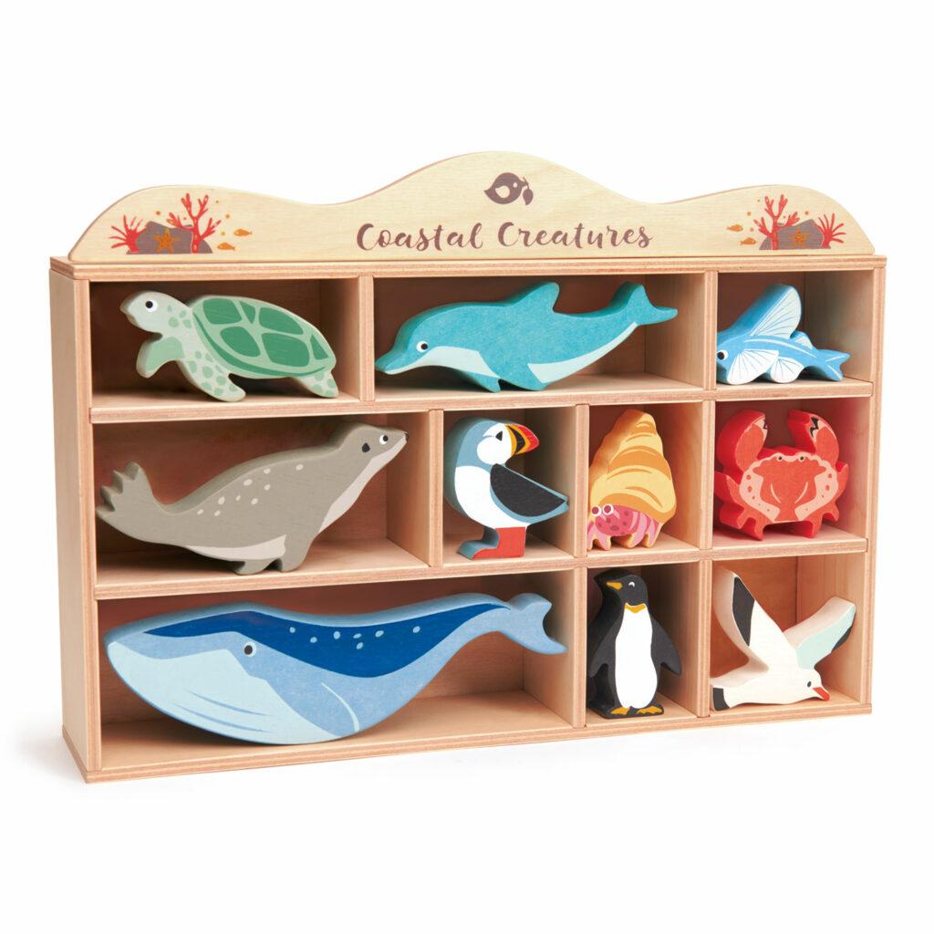 Zwierzęta morskie, drewniane figurki do zabawy - Tender Leaf Toys