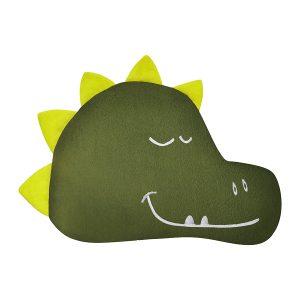 Poduszka z dinozaurem zielona