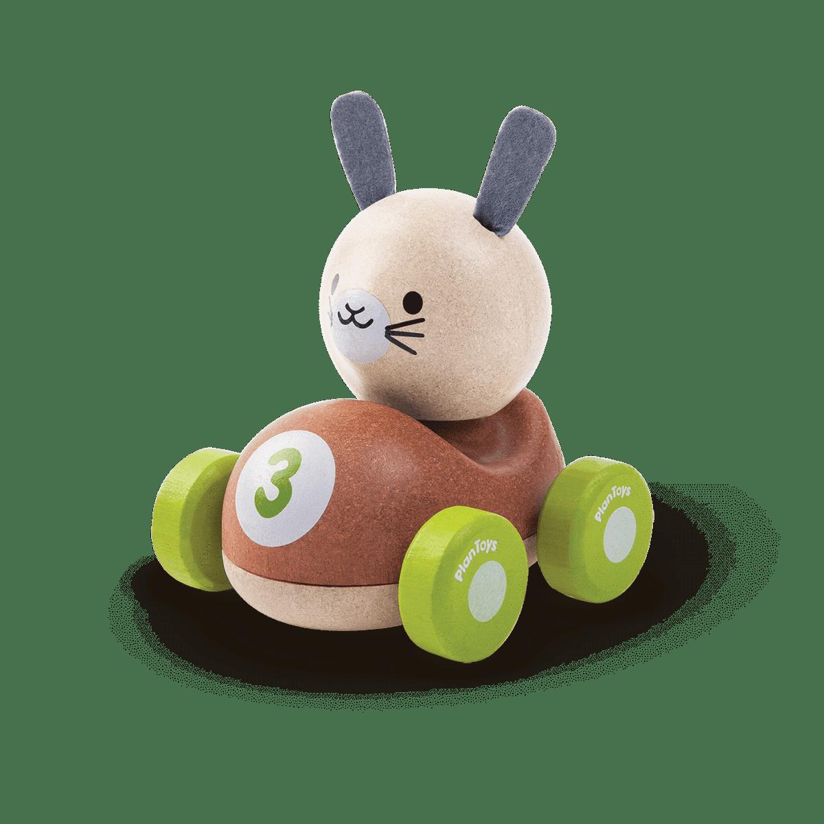 Wyścigówka w kształcie królika od Plan Toys