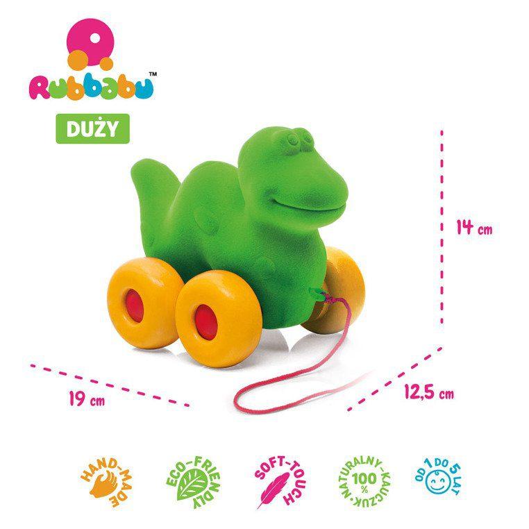 Zabawka do ciągnięcia, zielony Dinozaur od Rubbabu