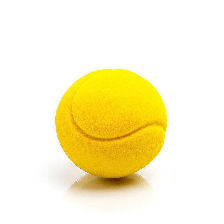 Mała piłka sensoryczna dla dzieci, żółta tenisowa od Rubbabu