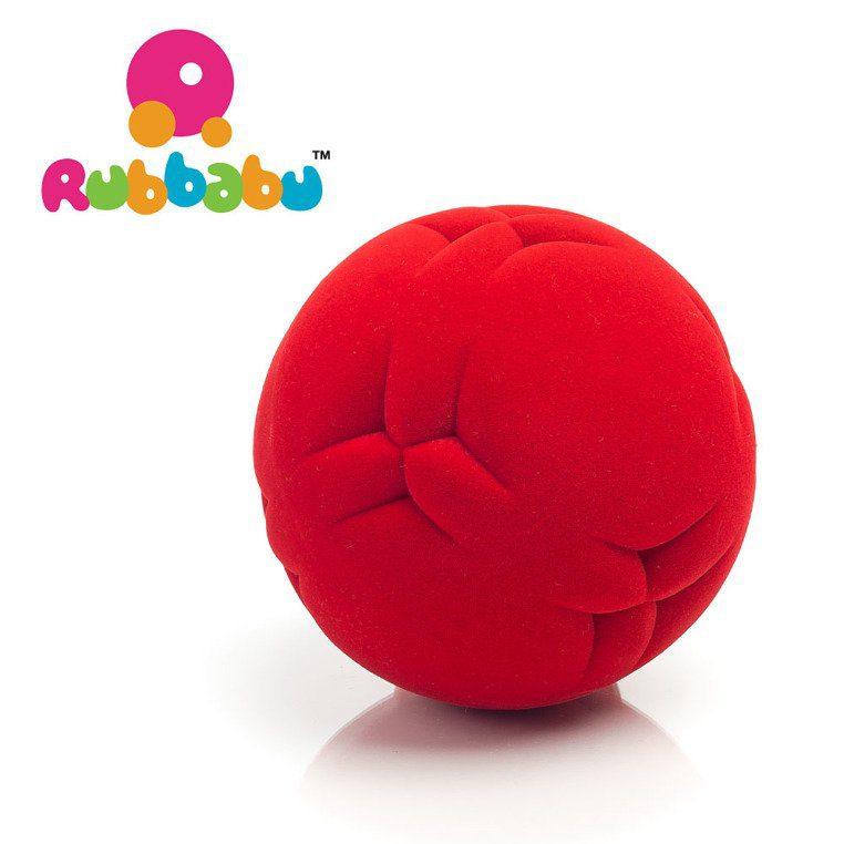 Sensoryczna piłka z delikatną fakturą, czerwona od Rubbabu