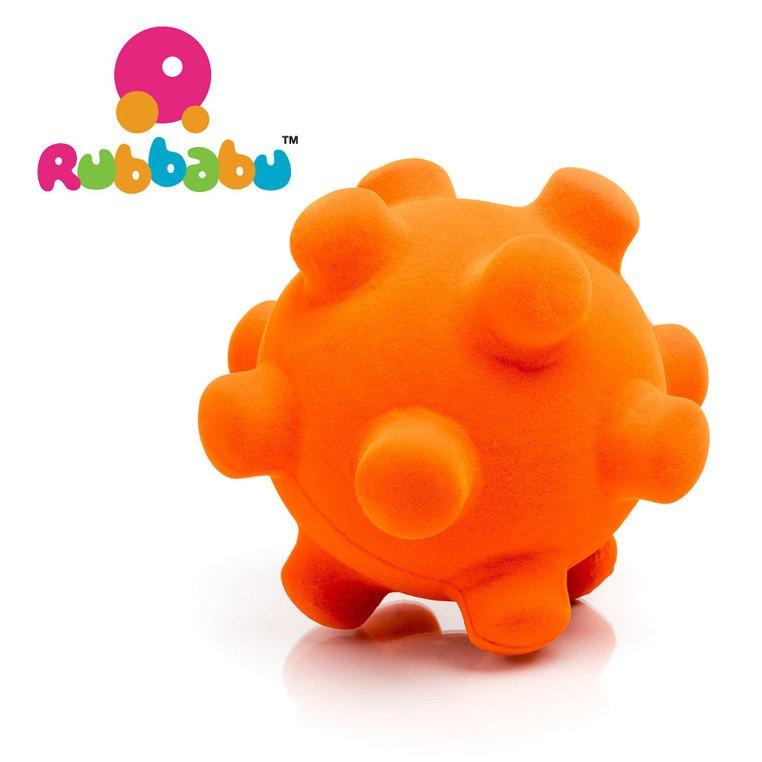 Piłka sensoryczna z mocną fakturą, pomarańczowy wirus od Rubbabu