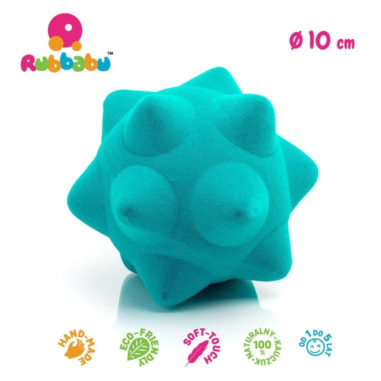 Piłka sensoryczna z mocną fakturą, turkusowa z kolcami od Rubbabu
