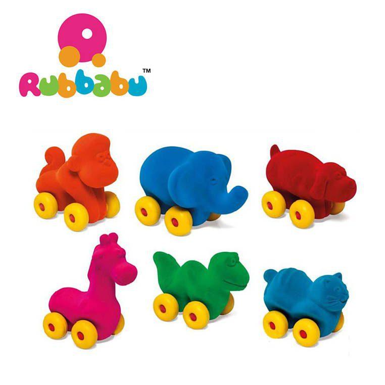 Zabawka rozwojowa w kształcie turkusowego kota dla dzieci od Rubbabu