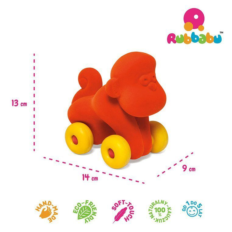 Zabawka rozwojowa w kształcie pomarańczowej małpki dla dzieci od Rubbabu