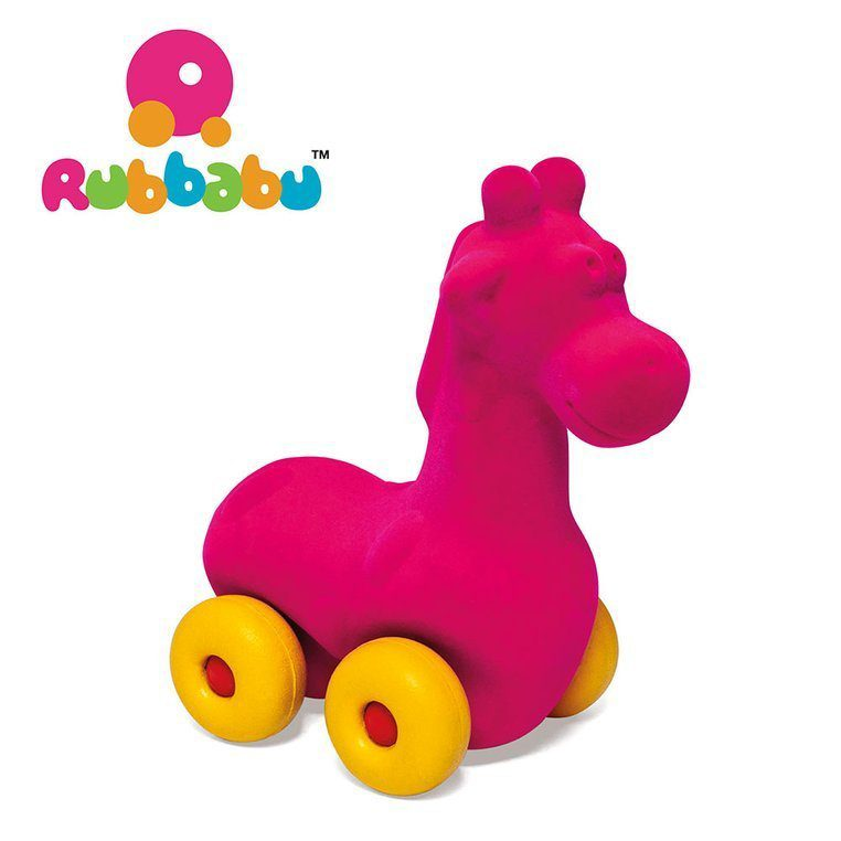 Zabawka rozwojowa w kształcie różowej żyrafy dla dzieci od Rubbabu