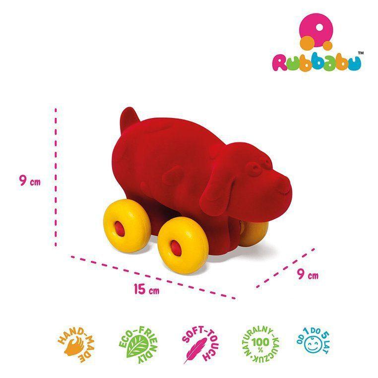 Zabawka rozwojowa w kształcie czerwonego psa dla dzieci od Rubbabu