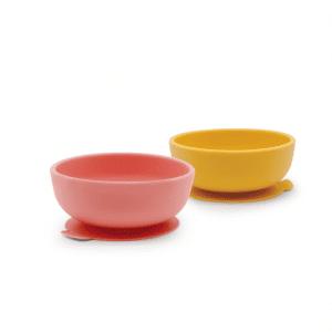Zestaw dwóch silikonowych miseczek dla dzieci w kolorze żółty/koralowy od Ekobo