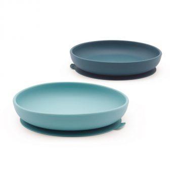 Zestaw dwóch silikonowych talerzy dla dzieci w kolorze błękitny/morski od Ekobo