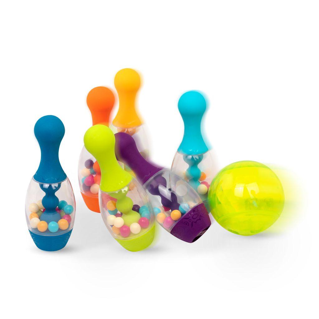 Zestaw do gry w kręgle w kolorze pomarańczowym od B.Toys