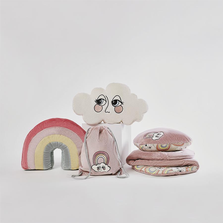Poduszka Sleepover Tęcza - różowa